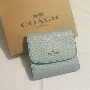 NWT, Coach Blue Glitter Small Wallet